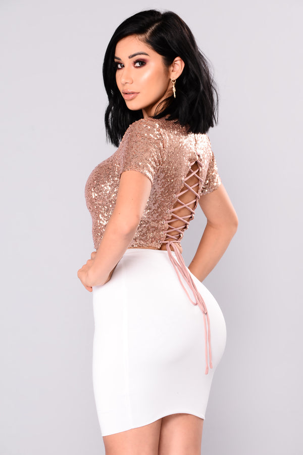 295bdbd7040198 Stellar Sequin Crop Top - RoseGold