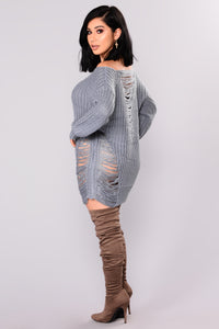 Loosen Up Distressed Sweater - Dusty Blue