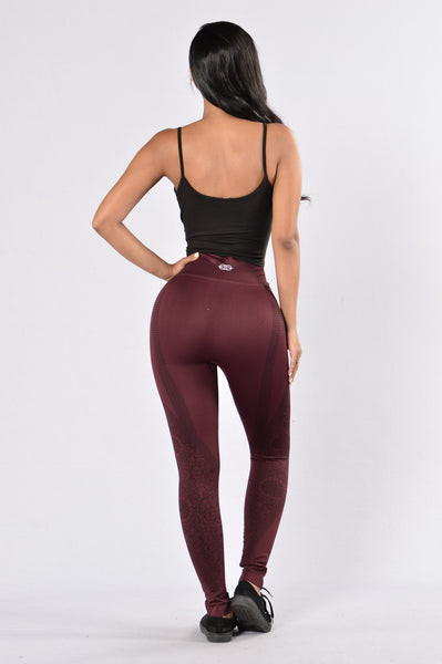 Floral Haze Leggings - Burgundy