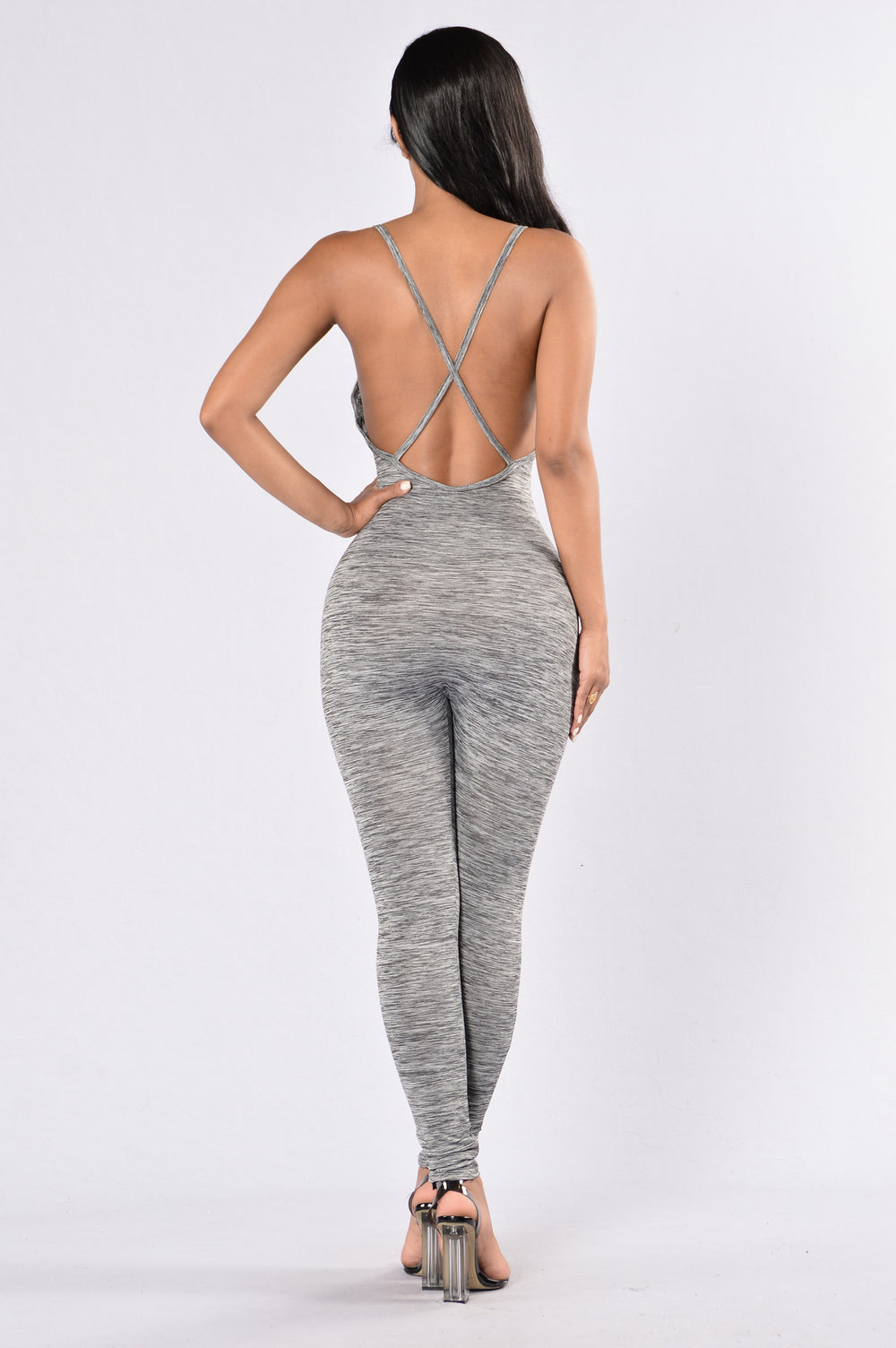 Fit And Toned Jumpsuit - Charcoal
