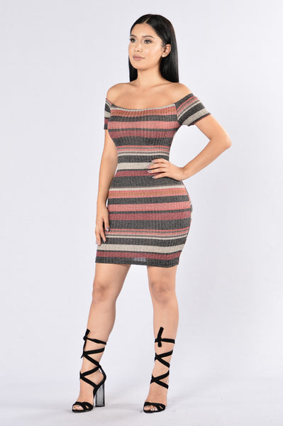 Tired Of Being Alone Dress - Burgundy Multi