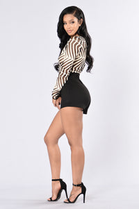 Earn Your Stripes Romper - Taupe/Black