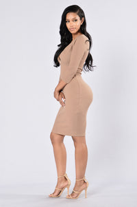 Fool Me Twice Dress - Taupe