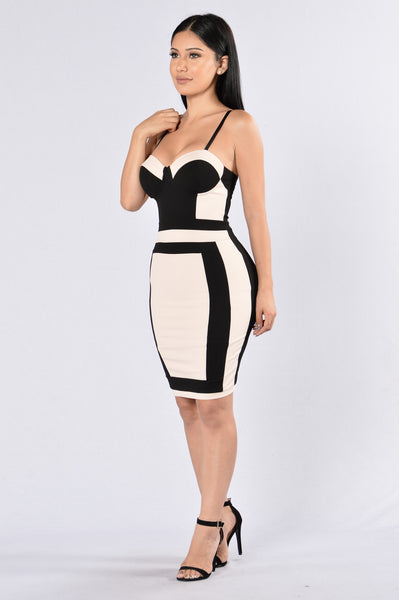 If You Really Love Me Dress - Nude/Black