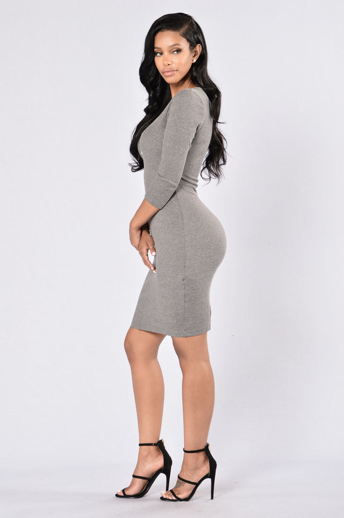 Fool Me Twice Dress - Grey