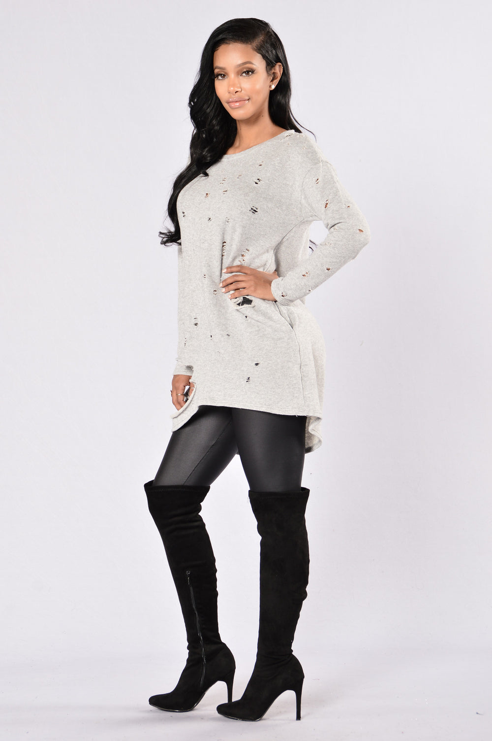 Destruction Zone Tunic Dress - Heather Grey