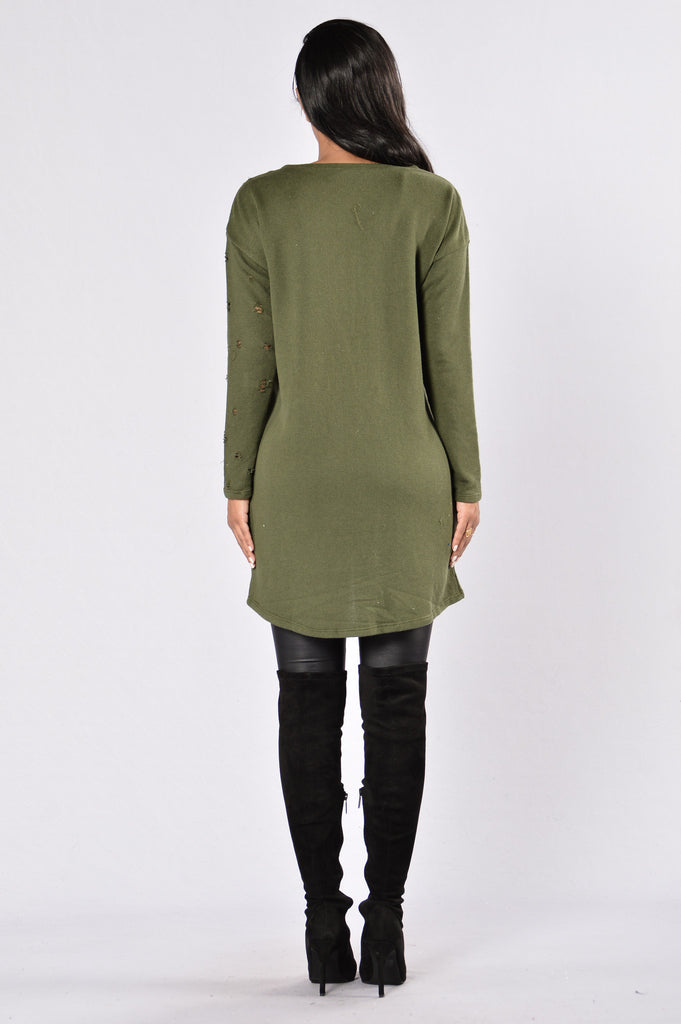 Destruction Zone Tunic Dress - Olive