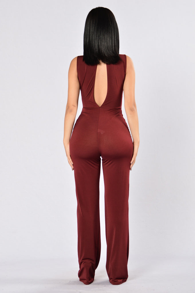 Don't Need No Man Jumpsuit - Burgundy