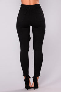 Shawna Distress Jeans - Black