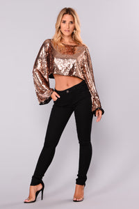 Callista Sequin Top - Rose Gold