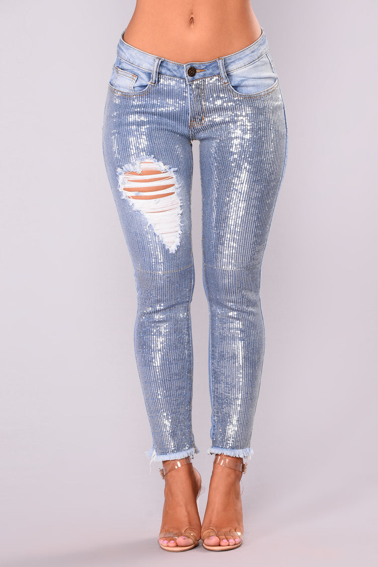 Zenith Sequin Jeans - Silver