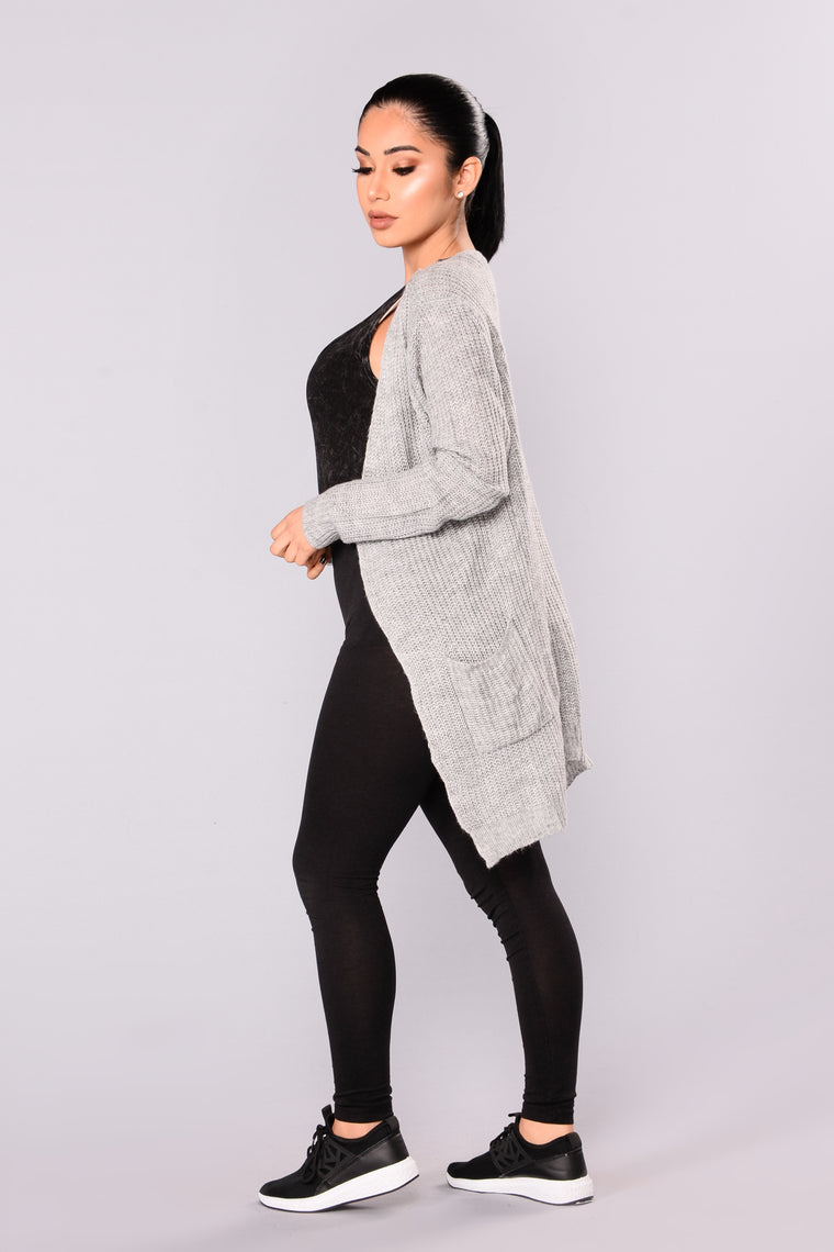 Just Jane Ribbed Cardigan - Heather Grey