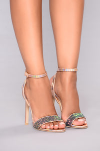 Hello Glitz Heel - Rose Gold Angle 2