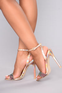 Hello Glitz Heel - Rose Gold Angle 1