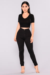 Ribbed To Shreds Crop Top - Black