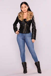 Clairey Faux Leather Jacket - Black/Natural
