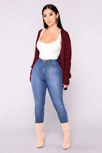 Aubree Lace Up Cardigan - Wine