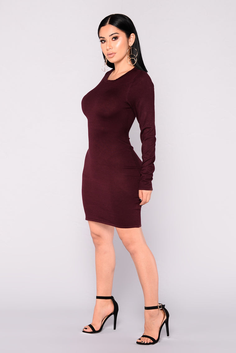 Get My Groove Knit Dress - Eggplant