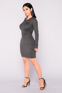 Get My Groove Knit Dress - Charcoal