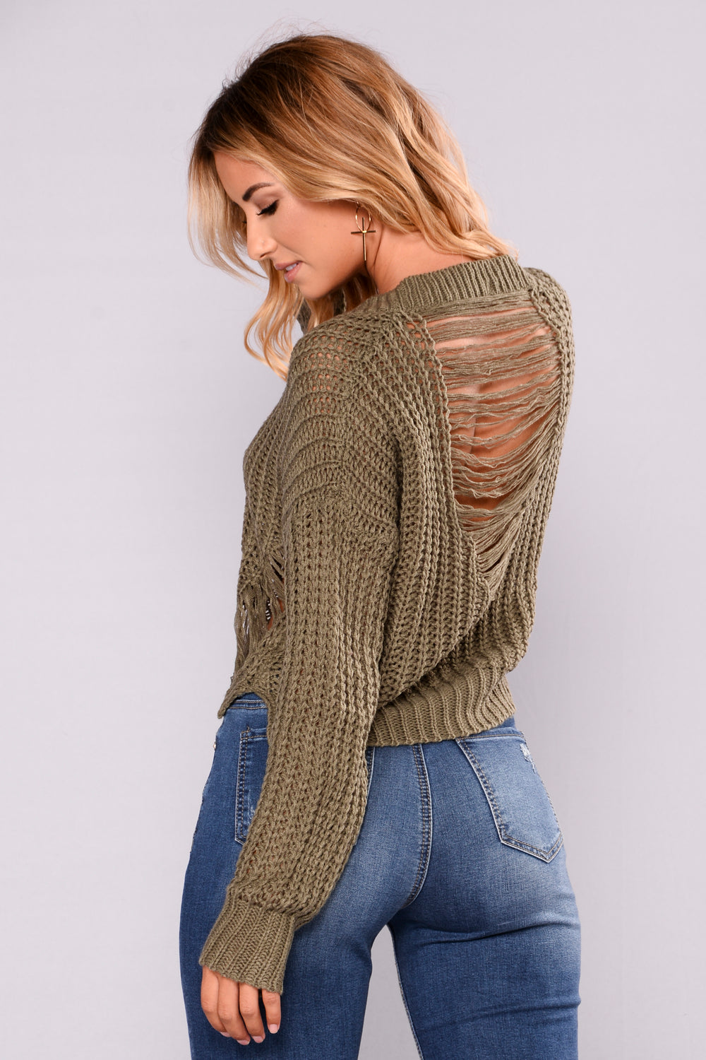Coralie Long Sleeve Sweater - Olive
