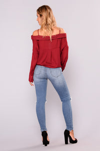 Open Sails Off Shoulder Top - Burgundy