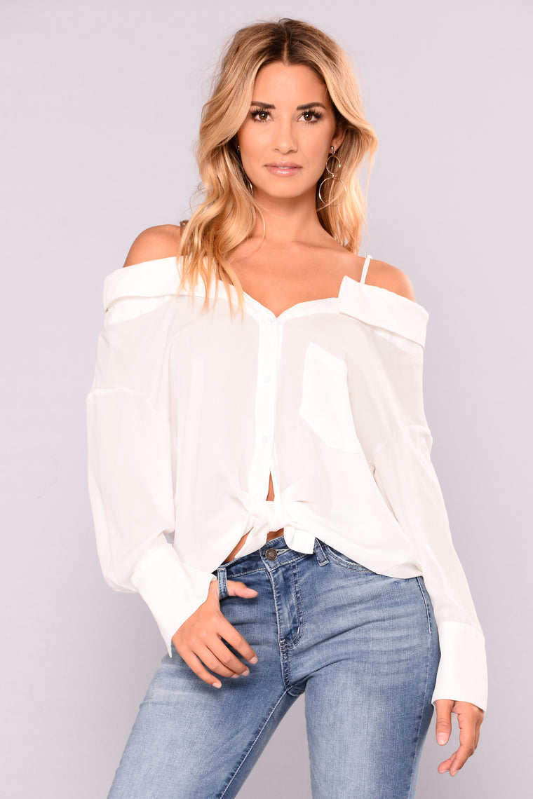 Open Sails Off Shoulder Top - Off White