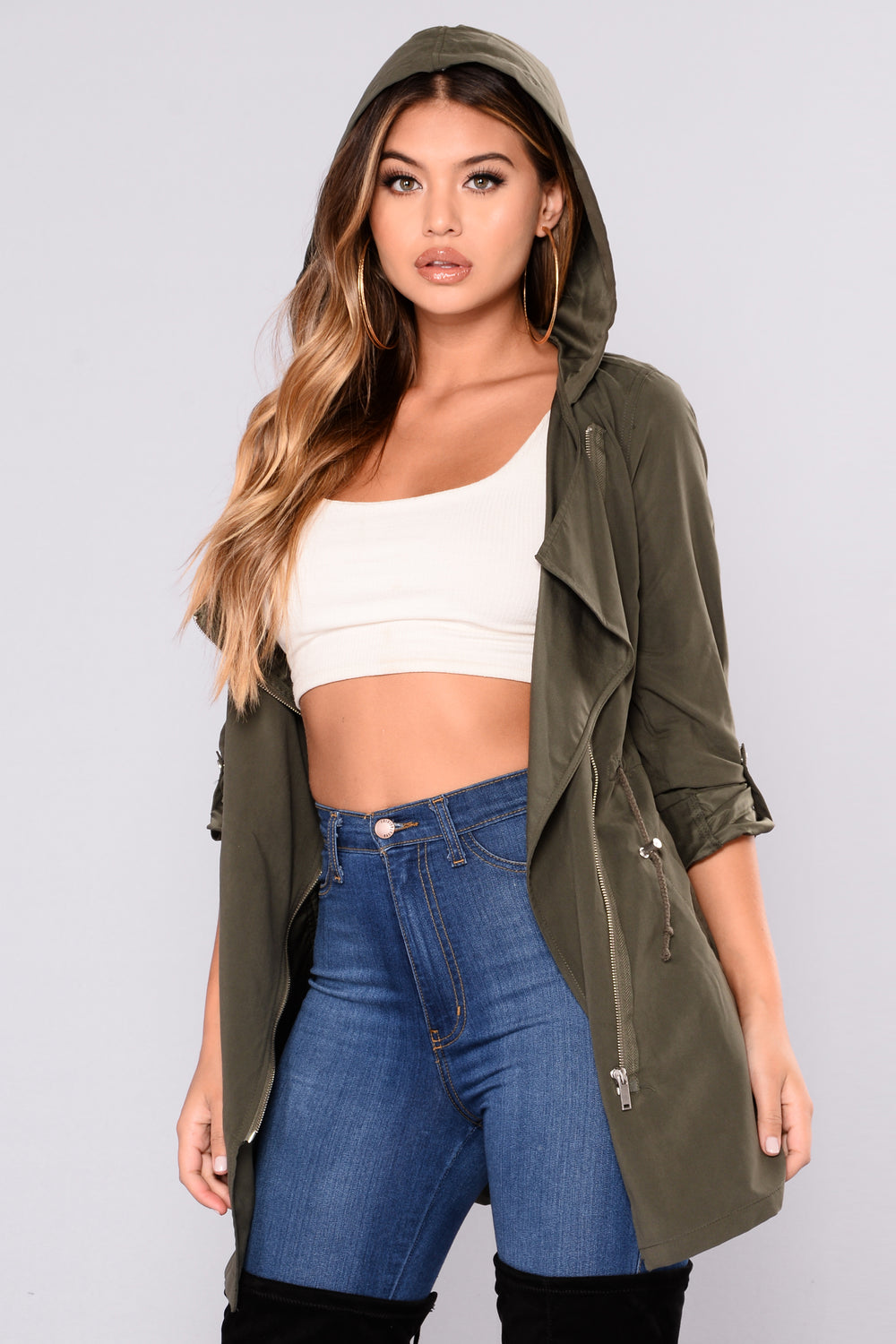 Casual Talk Hooded Jacket - Olive