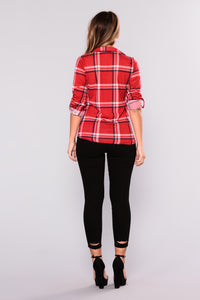 Soul Mate Plaid Top - Red/Ivory
