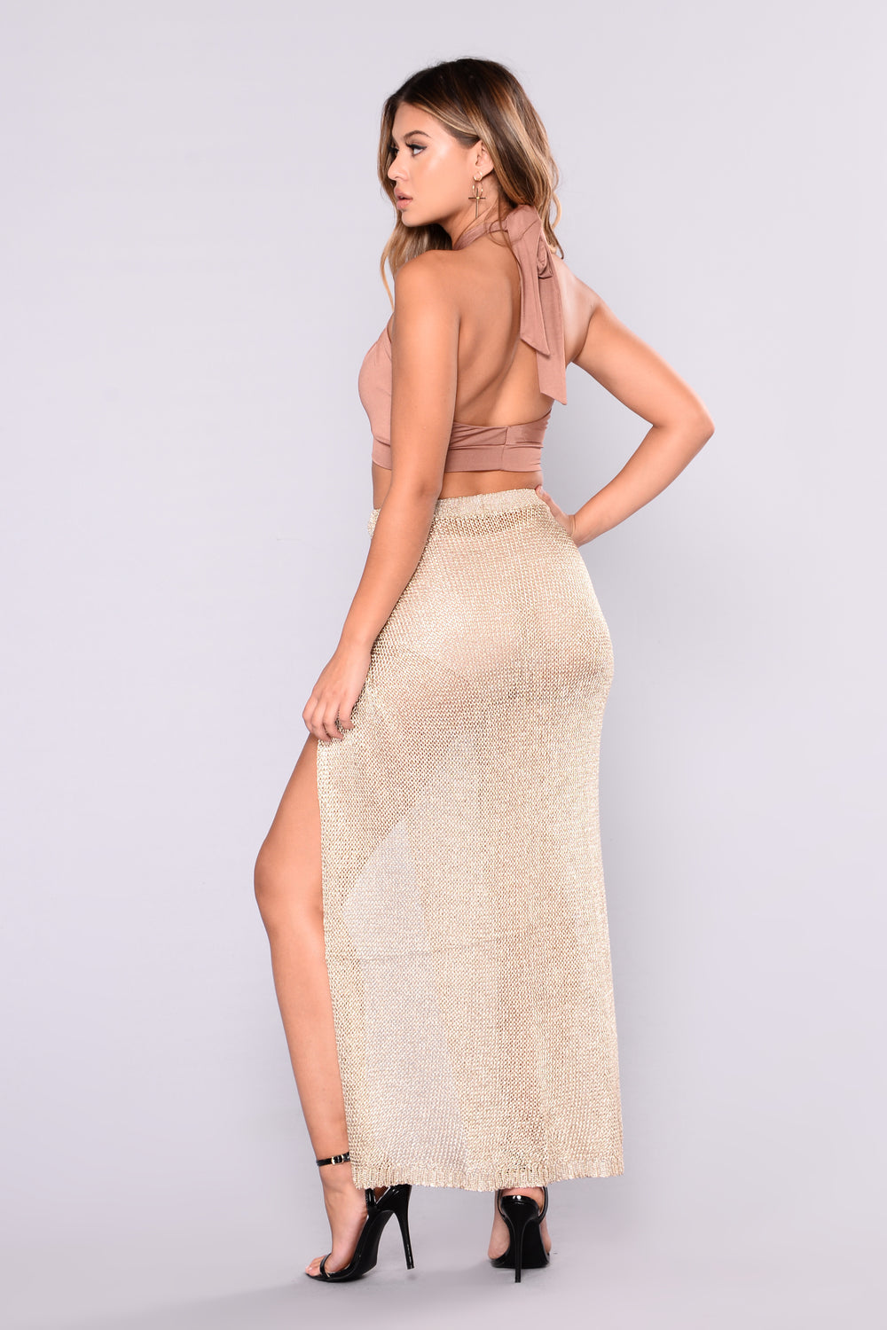 Trophy Wife Crochet Skirt - Gold