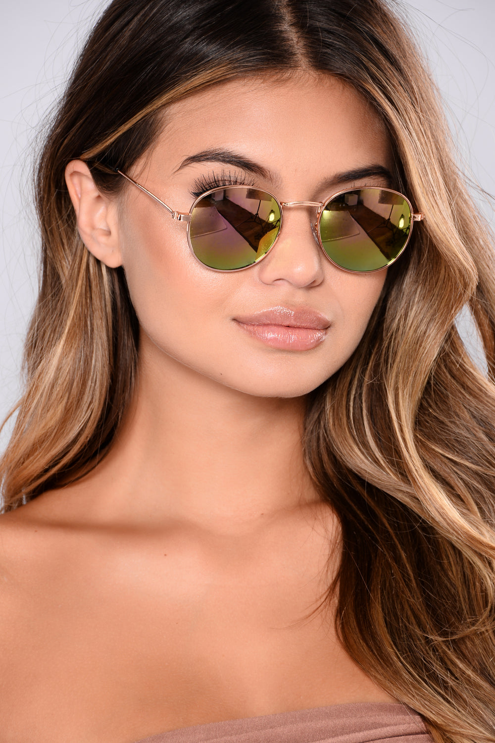 Round And Round Sunglasses - Gold/Pink