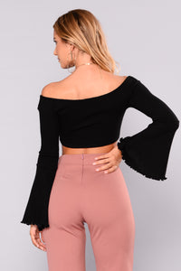 Bossa Nova Bell Sleeve Top - Black
