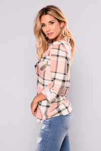 Soul Mate Plaid Top - Blush/Black