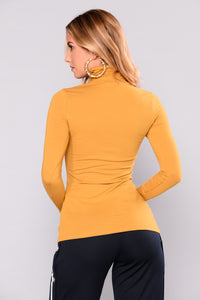 No More Rules Mock Neck Top - Dark Mustard