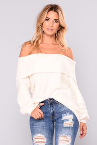Adore A Ball Off Shoulder Sweater - Cream