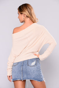 East Hampton Cottage Off Shoulder Sweater - Beige