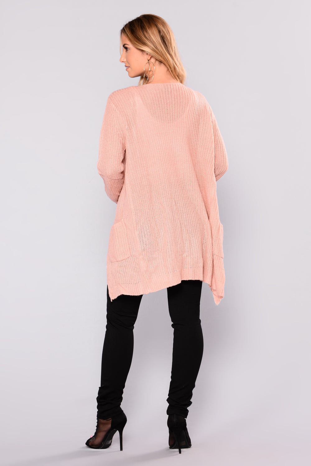 Just Jane Ribbed Cardigan - Dusty Pink