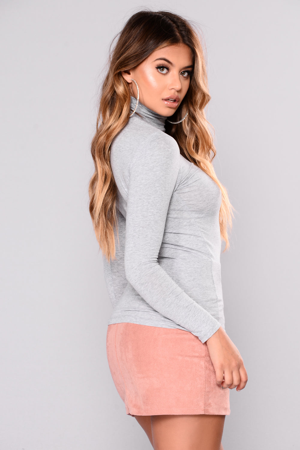 No More Rules Mock Neck Top - Heather Grey