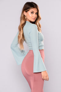 Flora Bell Sleeve Top - Sage
