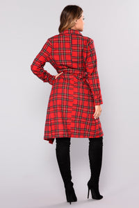Pardon Me Plaid Coat - Red