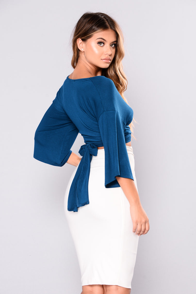 Karla Front Wrap Top - Teal