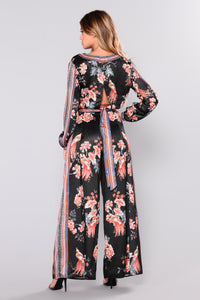 Blossom Dandy Satin Pants - Black