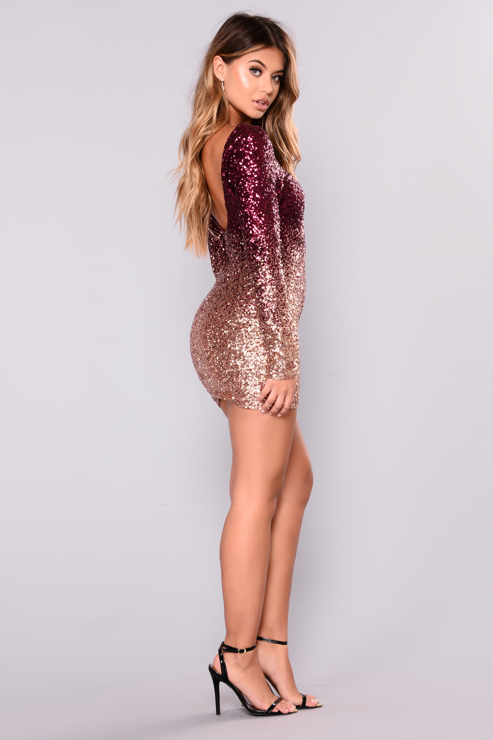 Wynn Sequin Dress - Burgundy/Rose Gold