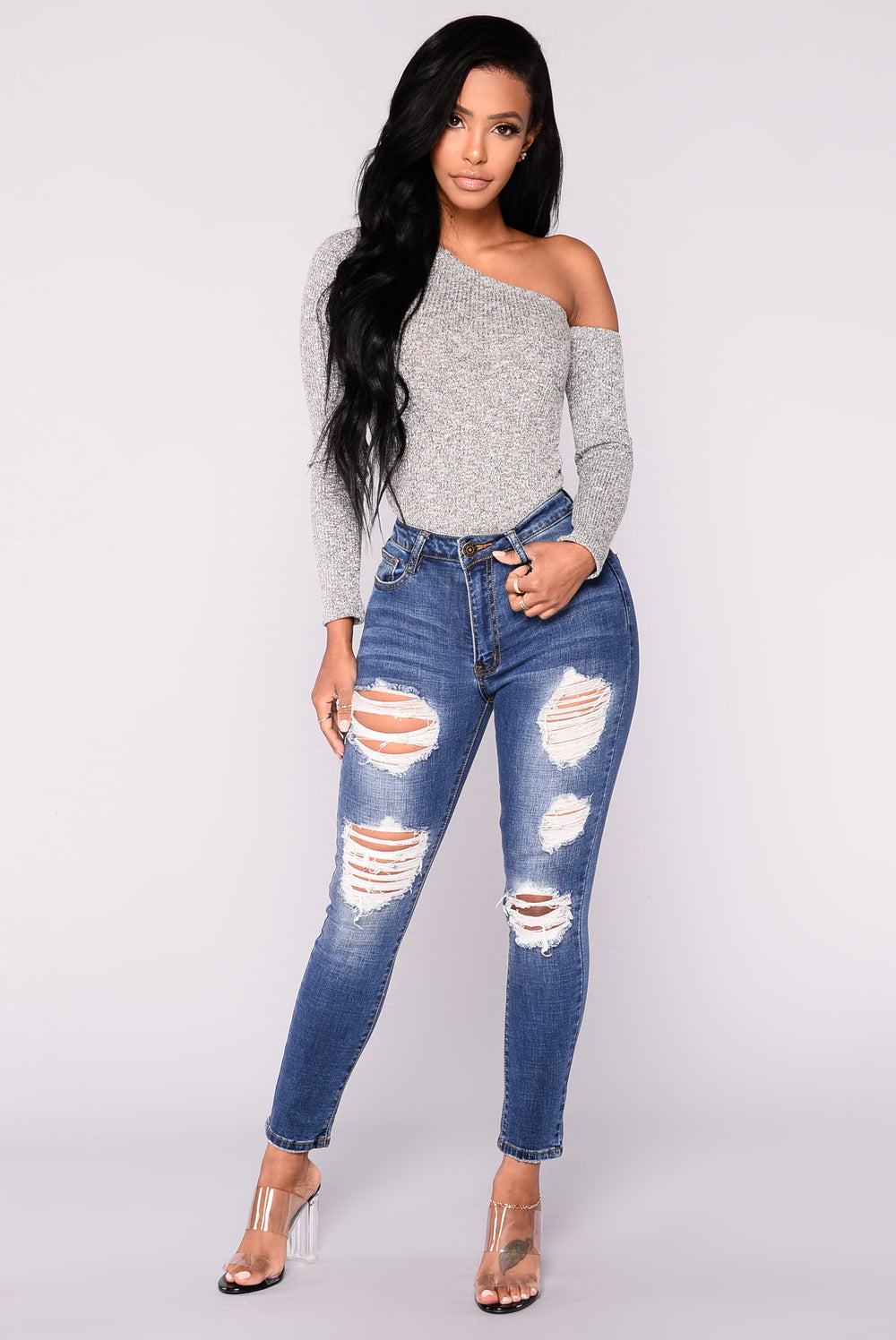 Obsess Over Me Top - Heather Grey