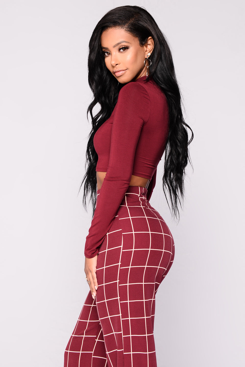 On The Rise Top - Burgundy