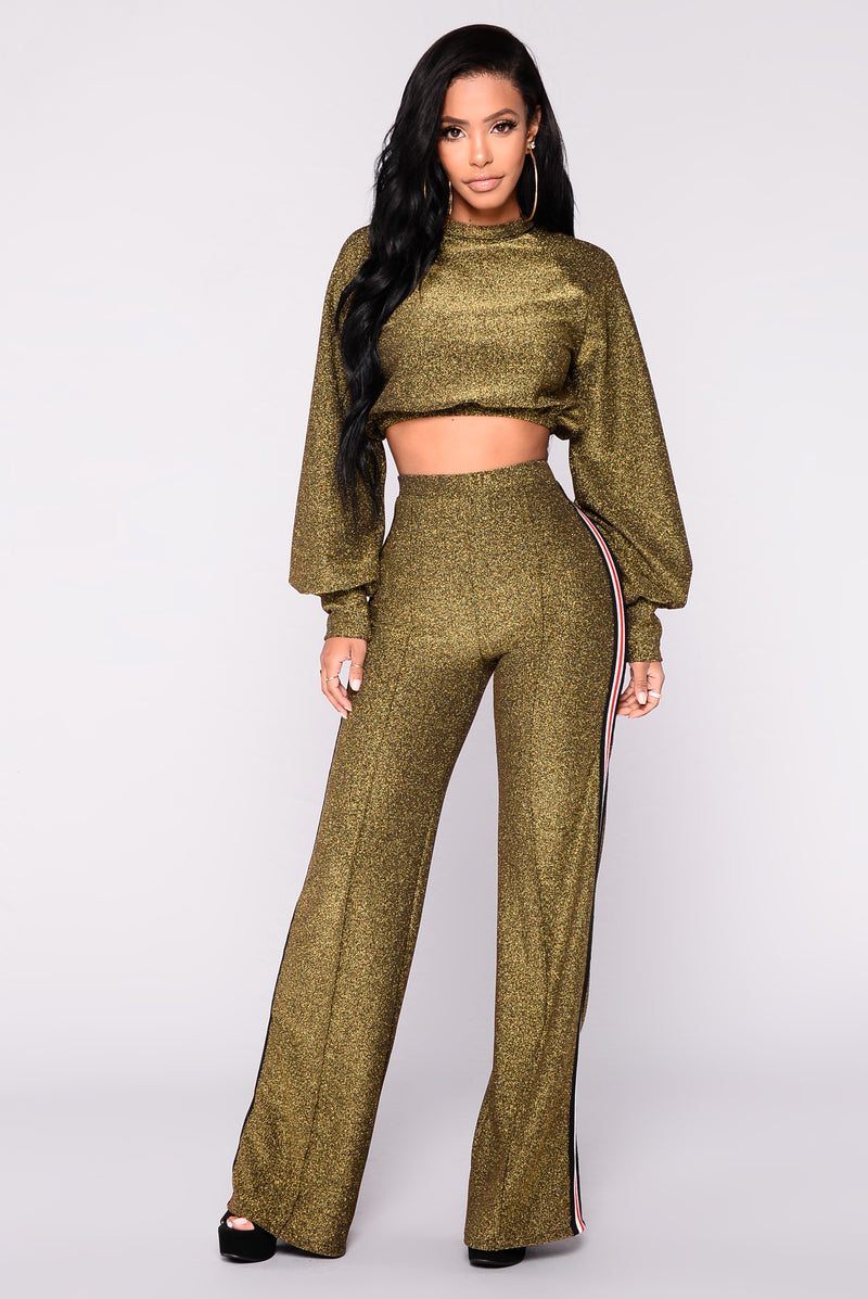 Night Flight Pant Set - Gold