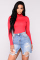 No More Rules Mock Neck Top - Deep Red