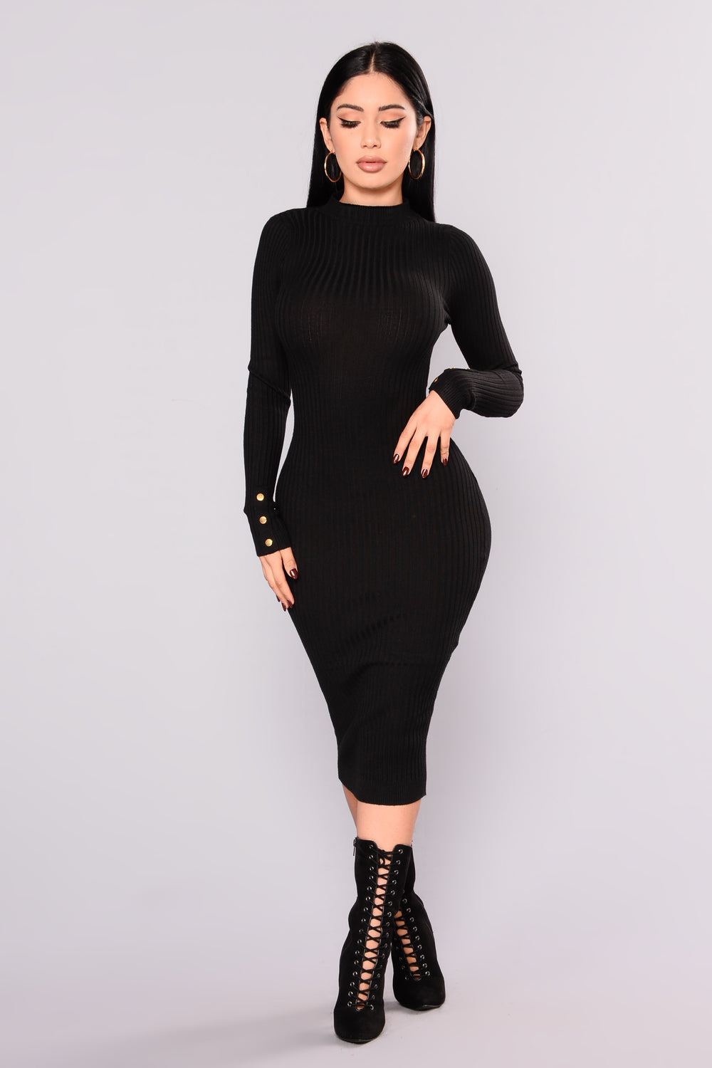 Canal St. Ribbed Dress - Black