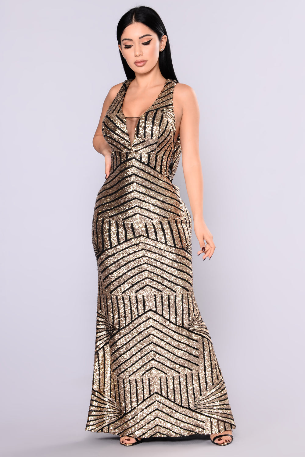 Milan Runway Sequin Dress - Black/Gold