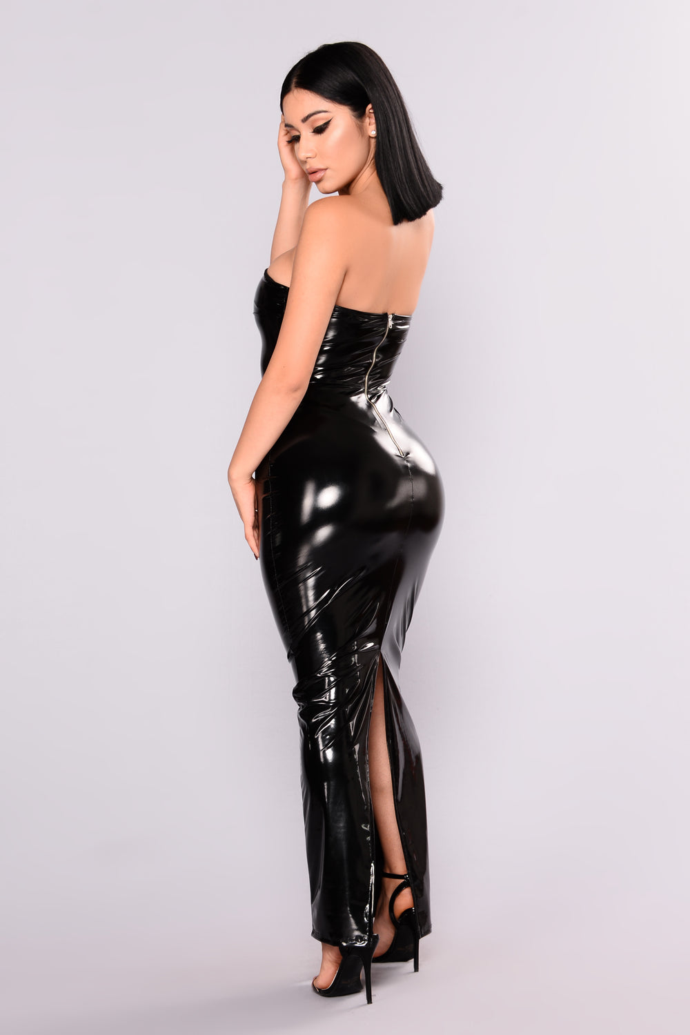 New York Fashion Week Latex Dress - Black