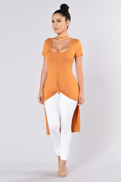 No Curfew Top - Cognac